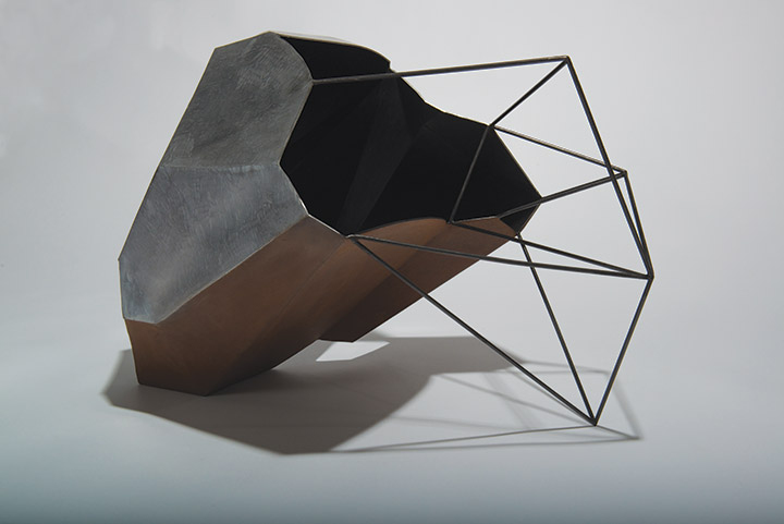 Cécile Geiger-Sculpture-Fragment - Sculpture en metal, acier poli
